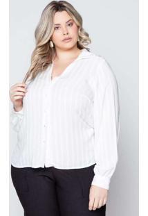 Camisa Almaria Plus Size Pianeta Viscose Branco