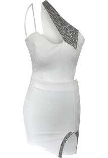 Vestido Alegra Pedraria Ombro Transversal Branco