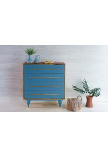 Cômoda De Bebê De Madeira Maciça Retrô 4 Gavetas Sideral - Capuccino E Azul 90X40X98Cm