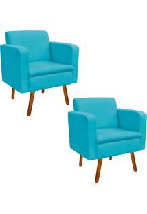 Kit 02 Poltrona Decorativa Emília Suede Azul Tiffany - D'Rossi