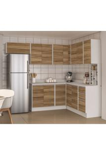 Cozinha Completa Mali 12 Pt 3 Gv Nogal E Branca