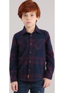 Camisa Infantil Xadrez Em Flanela Com Bolso Manga Longa Azul Marinho