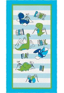 Toalha De Banho Felpuda Dino- Azul Verde- 60X110Cmlepper