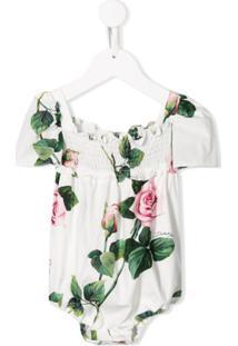 Dolce & Gabbana Kids Body Com Estampa De Rosas - Branco