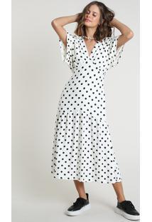 Vestido Feminino Bbb Midi Estampado De Poá Manga Curta Off White