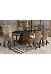 Conjunto De Mesa Lunara Ii Com Vidro 6 Cadeiras Animalle Castor E Chocolate