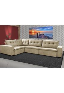 Sofa De Canto Retrátil E Reclinável Com Molas Cama Inbox Oklahoma 3,45X2,41 Ou 2,41X3,45 Bege