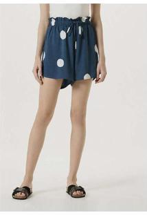 Shorts Feminino Pijama Em Tecido De Viscose Azul