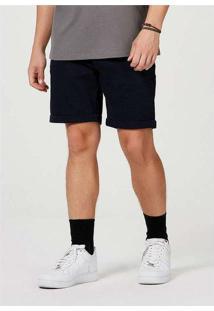 Bermuda Sarja Masculina Slim Com Amarração Azul