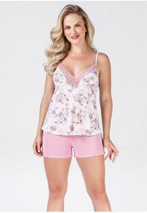 Short Doll Estampado Flores Plus Size 260015 Brilho Da Seda