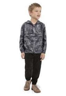 Jaqueta Infantil Quimby Anorak Em Poliester Masculina - Masculino-Cinza