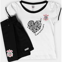654177c2dd Conjunto Corinthians Juvenil Baby Look E Short-Saia - Feminino