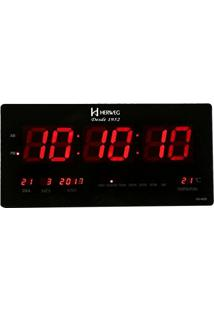 b731db48cf0 Relógio De Parede Digital Moderno Termômetro Medidor De Temperatura Lâmpada  Led Bivolt Herweg Preto