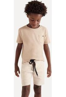 Camiseta Infantil Reserva Mini Sm Malha Organica Inv20 Masculina - Masculino-Bege