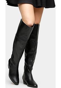 Bota Couro Over The Knee Shoestock Zíper Feminina - Feminino