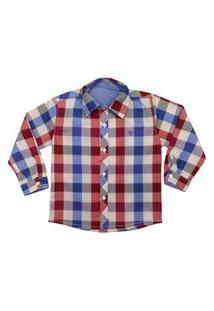 Camisa Infantil Look Jeans Manga Longa Xadrez Vermelho