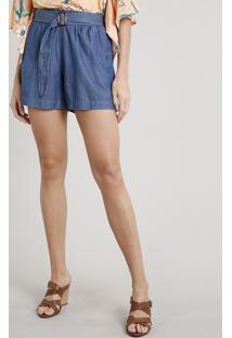 Short Jeans Feminino Clochard Com Fivela E Bolsos Azul Escuro