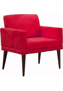Poltrona Decorativa Emília Pés Palito Suede Vermelho - Ds Móveis