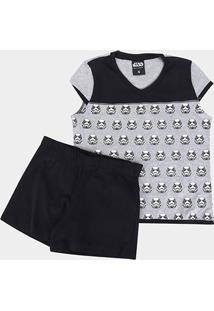Pijama Infantil Lupo Disney Kf S.Wars Sh.Doll - Masculino-Preto