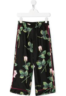 Dolce & Gabbana Kids Calça De Pijama Com Estampa De Rosas - Preto