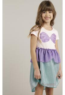 Vestido Infantil Ariel Pequena Sereia Com Glitter E Lurex Rosa Claro