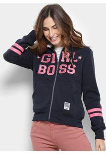 Jaqueta Moletom Facinelli Girl Boss Feminina - Feminino-Marinho