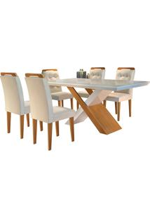 Conjunto De Mesa Para Sala De Jantar Com 6 Cadeiras Doris -Rufato - Veludo Creme / Off White / Imbuia