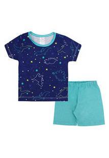 Pijama Bebê Masculino Camiseta Manga Curta Azul Marinho Dinossauro E Shorts (1/2/3) - Kappes - Tamanho 3 - Azul Marinho,Verde