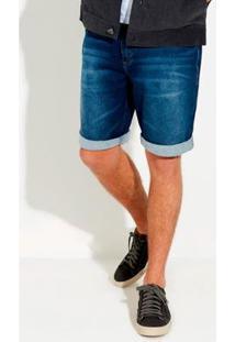 Bermuda Hering Jeans Lavação Clara Com Desgastes Masculina - Masculino-Azul