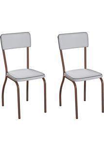 Conjunto Com 2 Cadeiras Nowra Branco E Cobre