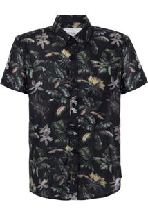 Camisa Mc Ckj Est Floral Jungle Silk Log - Preto - 12