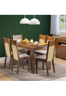 Conjunto Sala De Jantar Mesa E 6 Cadeiras Honduras Madesa Rustic/ Suede Pérola