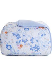 Edredom Royal Solteiro- Branco & Azul Claro- 150X220Santista