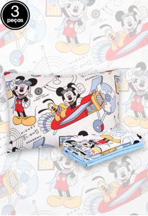 ca96ec81571eb Jogo De Cama 3Pçs Solteiro Santista Infantil Disney Mickey Aviador Azul