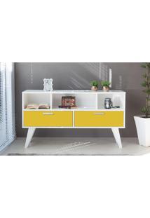 Armário Buffet Para Sala 02 Gavetas Amarelo Cristal 135X38,5X73 Cm