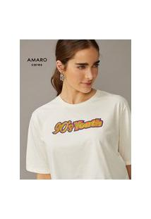 Amaro Feminino T-Shirt Cropped 90'S Youth, Off-White