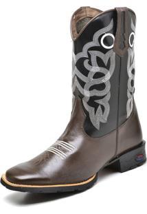 Bota Texana Fak Boots Cano Longo Bordado Café - Kanui