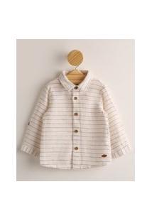 Camisa Infantil Listrada Manga Longa Off White
