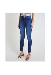 Calça Jeans Feminina Skinny Cintura Média Azul Médio