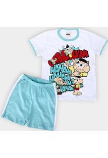 Pijama Infantil Evanilda Turma Da Mônica Masculino - Masculino-Branco