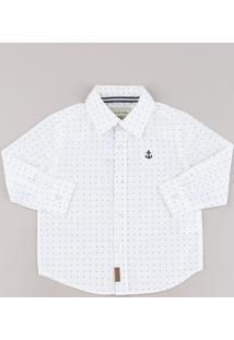 Camisa Infantil Estampada De Poá Com Bordado Manga Longa Branca
