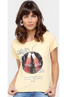 Camiseta Coca-Cola Estampa Foil Feminina - Feminino-Amarelo