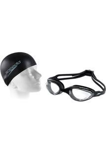 6bb52bbba Netshoes. Kit Natação Com Óculos Speedo Hydrovision + Touca Slim Cap -  Unissex