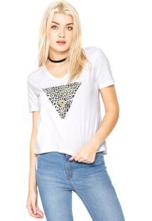 Camiseta Guess Animal Print Glitter Branca