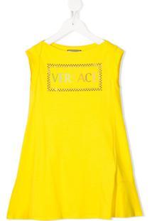 Young Versace Vestido Evasê Com Logo - Amarelo