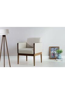 Poltrona De Madeira Decorativa Bege - Poltrona Confortável Para Sala E Quarto - Verniz Capuccino \ Tec.924 - Mariscal - 62X64X83 Cm