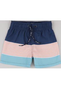 Bermuda Surf Infantil Com Listras E Bolso Azul Marinho