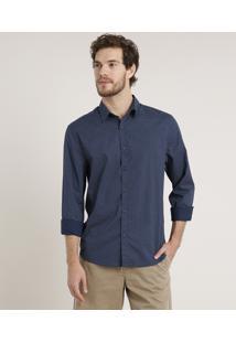 Camisa Masculina Tradicional Estampada Mini Print Geométrica Manga Longa Azul Marinho