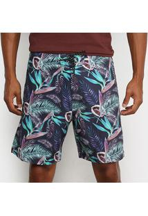 Boardshort Mash Estampado Floral Aquarela Masculino - Masculino-Azul