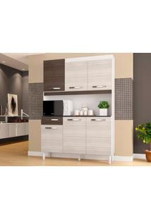 Cozinha 6 Portas Carine Amêndoa/Capuccino - Lc Móveis